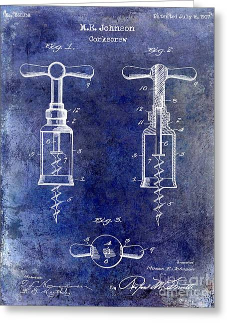 1907 Corkscrew Patent Blue Greeting Card by Jon Neidert
