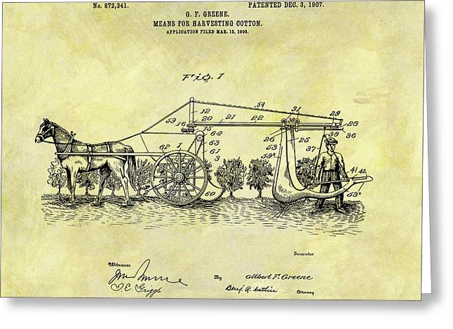 1907 Cotton Harvester Patent Greeting Card