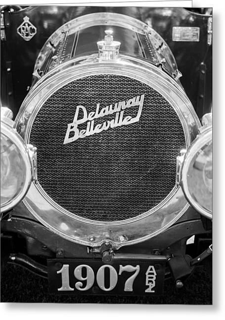 1907 Delaunay-belleville Phaeton Grille Emblem -0134bw Greeting Card by Jill Reger