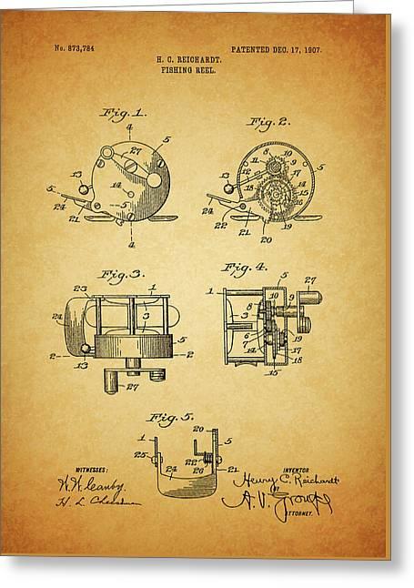 1907 Fishing Reel Patent Greeting Card