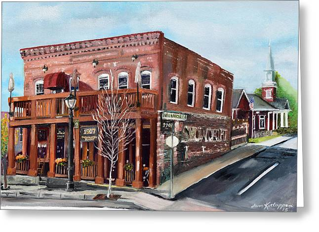 Greeting Card featuring the painting 1907 Restaurant And Bar - Ellijay, Ga - Historical Building by Jan Dappen