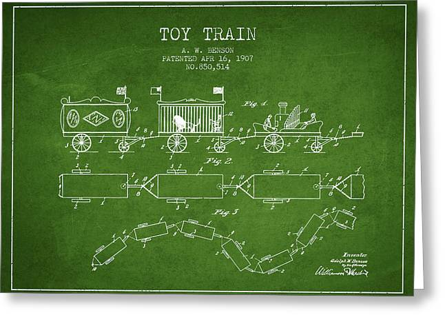 1907 Toy Train Patent - Green Greeting Card