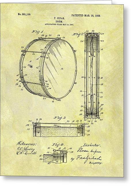 1908 Drum Patent Greeting Card by Dan Sproul