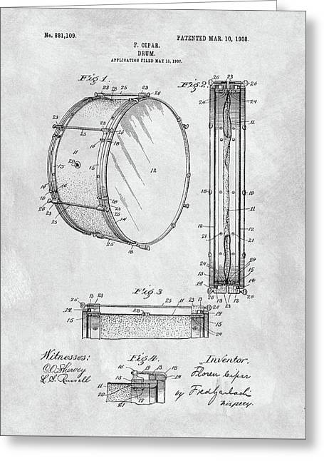 1908 Drum Patent Illustration Greeting Card by Dan Sproul