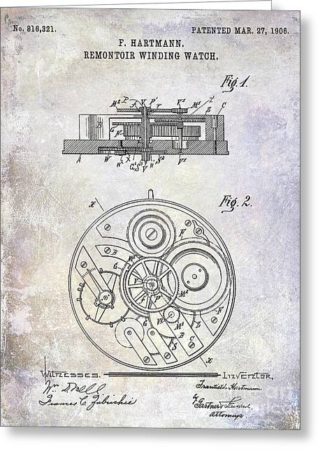 1908 Pocket Watch Patent  Greeting Card