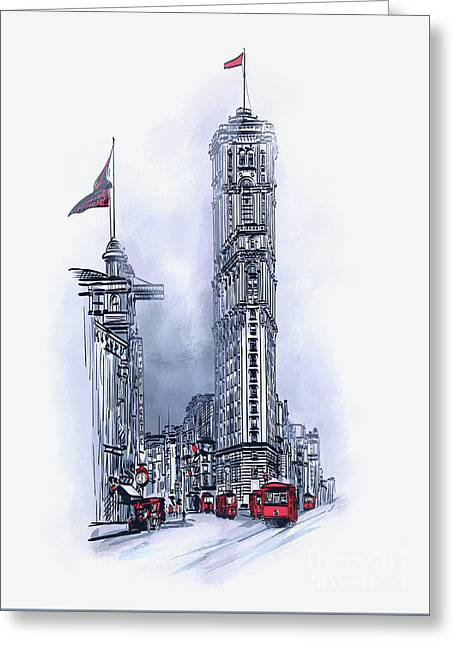 Greeting Card featuring the painting 1908 Times Square,ny by Andrzej Szczerski