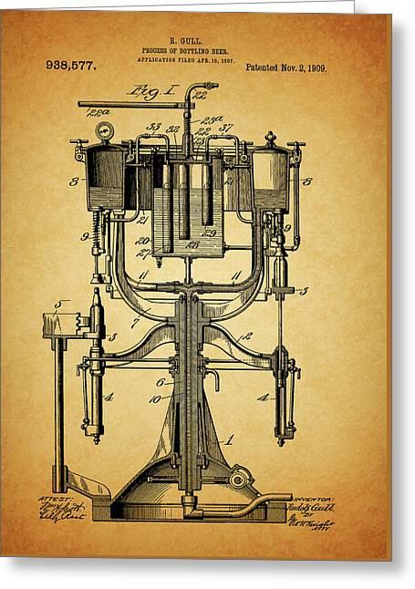 1909 Beer Bottling Machine Patent Greeting Card