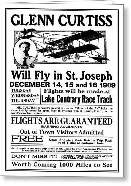 1909 Glenn Curtiss Air Show Flyer Greeting Card by Daniel Hagerman