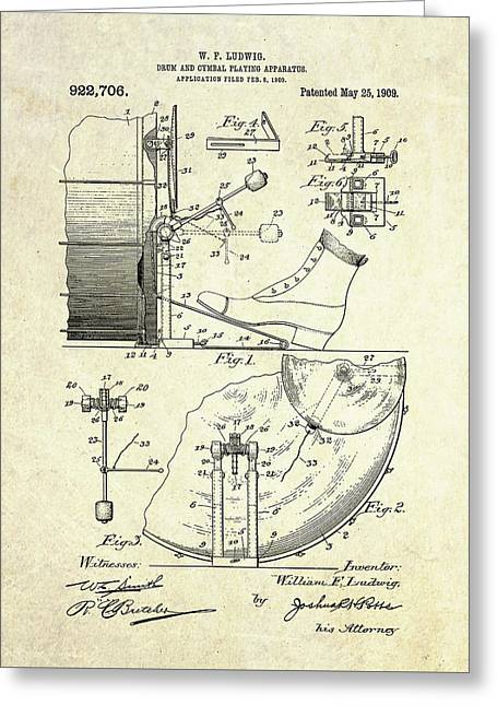 1909 Ludwig Drum And Cymbal Patent Greeting Card by Gary Bodnar