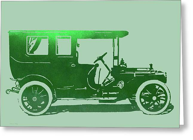 1909 Packard Limousine Green Pop Greeting Card by David King