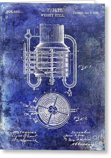 1909 Whiskey Still Patent Blue Greeting Card by Jon Neidert