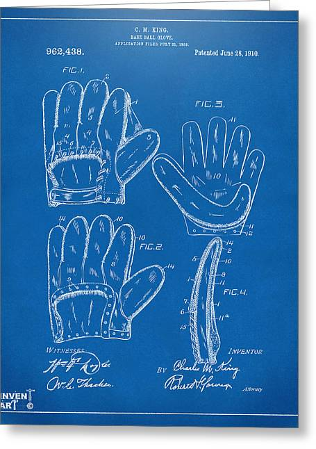 Baseball Glove Greeting Cards - 1910 Baseball Glove Patent Artwork Blueprint Greeting Card by Nikki Marie Smith