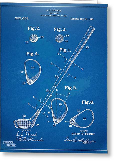1910 Golf Club Patent Artwork Greeting Card by Nikki Marie Smith