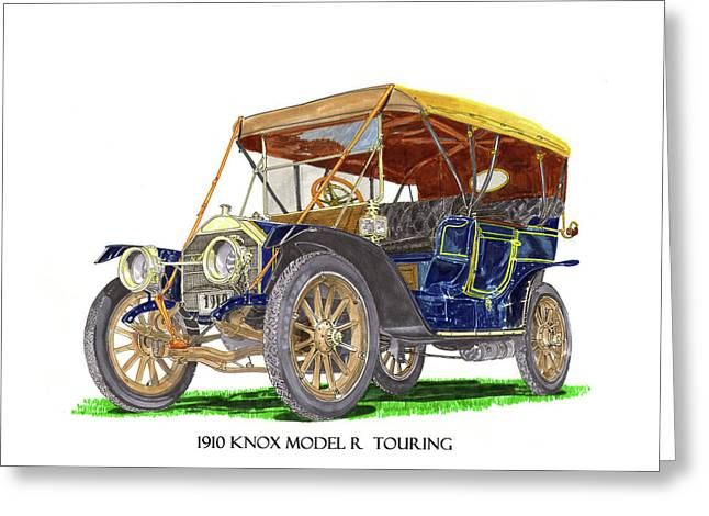 Greeting Card featuring the painting 1910 Knox Model R 5 Passenger  Touring Automobile by Jack Pumphrey