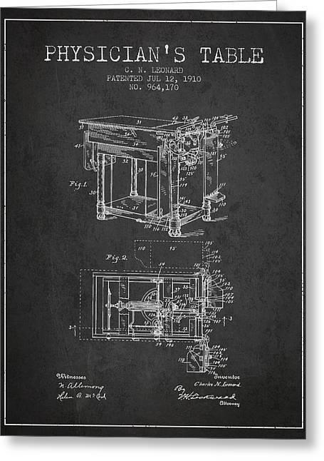 1910 Physicians Table Patent - Charcoal Greeting Card by Aged Pixel