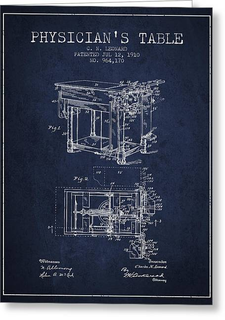 1910 Physicians Table Patent - Navy Blue Greeting Card by Aged Pixel