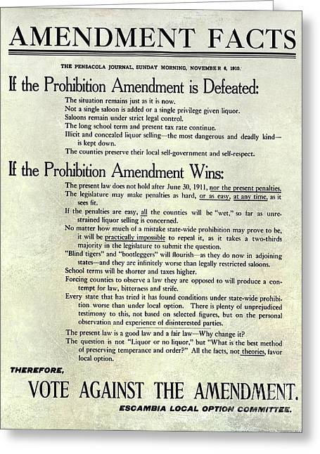 1910 Prohibition Amendment Facts Greeting Card