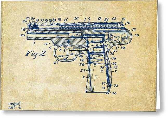Fine Line Drawings Greeting Cards - 1911 Automatic Firearm Patent Minimal - Vintage Greeting Card by Nikki Marie Smith
