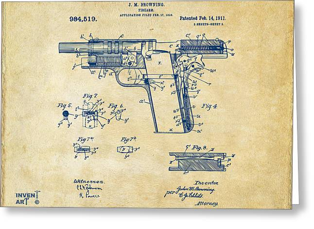 1911 Colt 45 Browning Firearm Patent 2 Artwork Vintage Greeting Card by Nikki Marie Smith