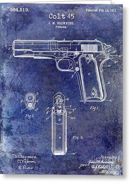 1911 Colt 45 Firearm Patent Greeting Card by Jon Neidert