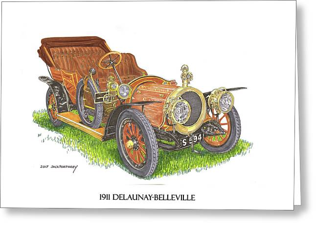 Greeting Card featuring the painting 1911 Delaunay Belleville Open Tourer by Jack Pumphrey