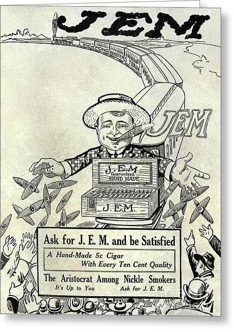 1911 Jem Cigar Advertisement Greeting Card by Jon Neidert