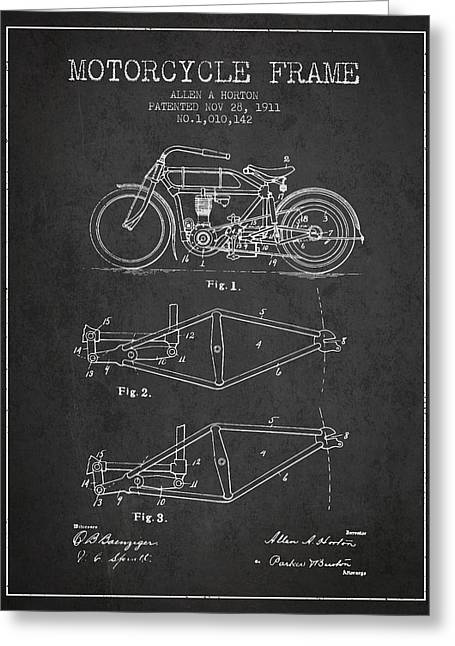 1911 Motorcycle Frame Patent - Charcoal Greeting Card by Aged Pixel