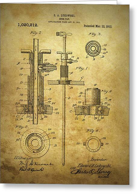 1912 Beer Tap Patent Greeting Card by Dan Sproul