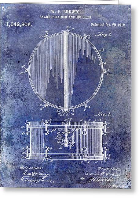 1912 Ludwig Drum Patent  Blue Greeting Card by Jon Neidert