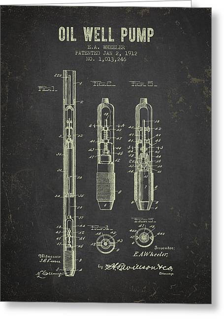 1912 Oil Well Pump Patent - Dark Grunge Greeting Card by Aged Pixel