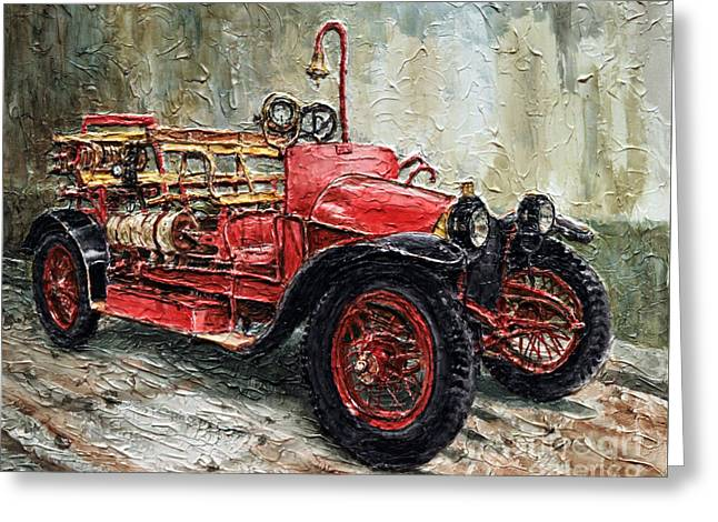 Greeting Card featuring the painting 1912 Porsche Fire Truck by Joey Agbayani
