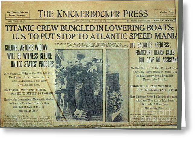 1912 Titanic Newspaper Greeting Card by Jon Neidert
