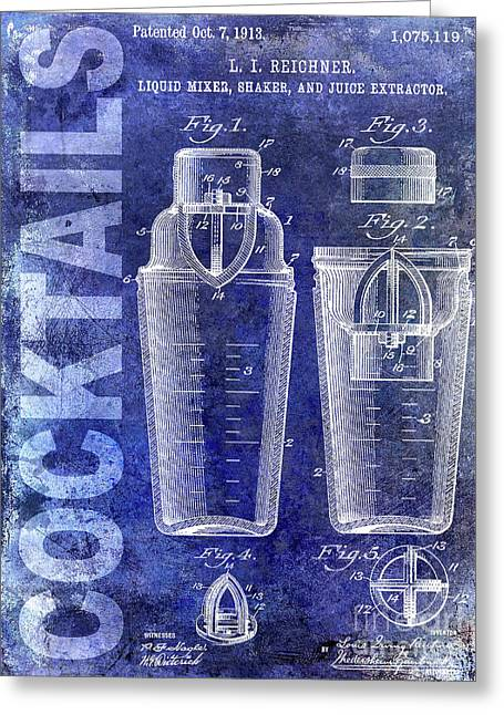 1913 Cocktail Shaker Blue Greeting Card