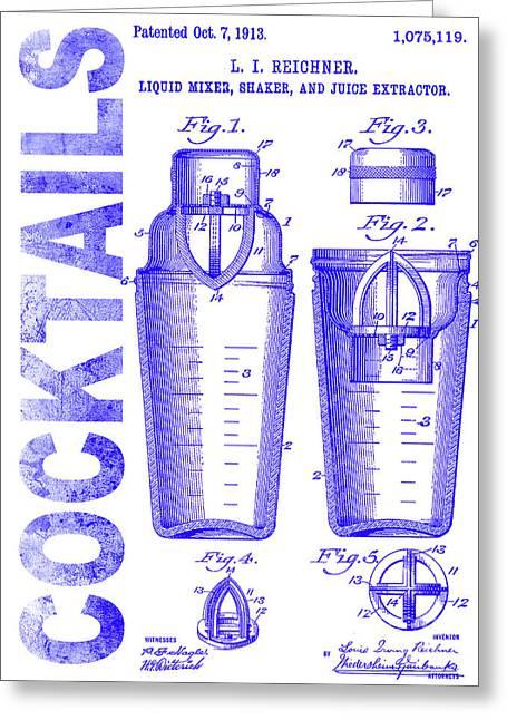 1913 Cocktail Shaker Patent Blueprint Greeting Card by Jon Neidert