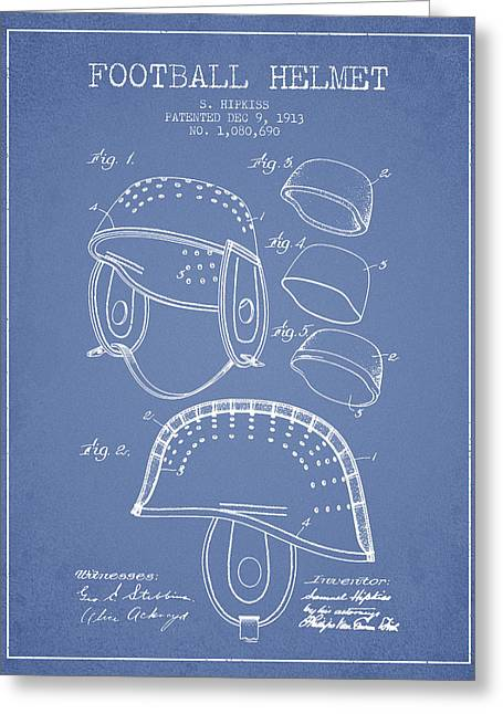 1913 Football Helmet Patent - Light Blue Greeting Card by Aged Pixel