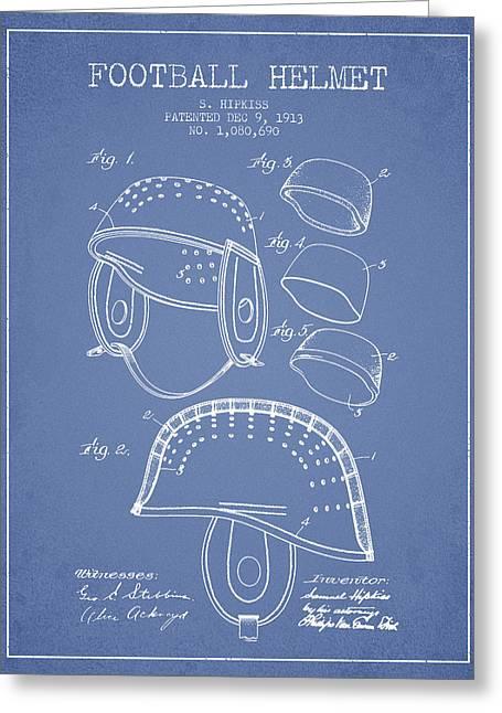 1913 Football Helmet Patent - Light Blue Greeting Card