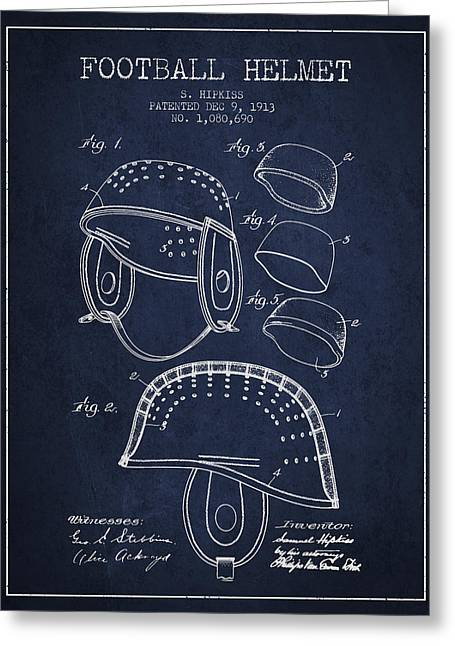 1913 Football Helmet Patent - Navy Blue Greeting Card by Aged Pixel