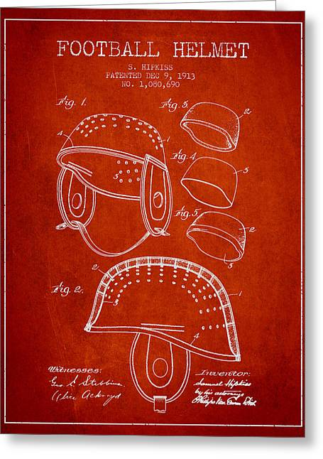 1913 Football Helmet Patent - Red Greeting Card by Aged Pixel