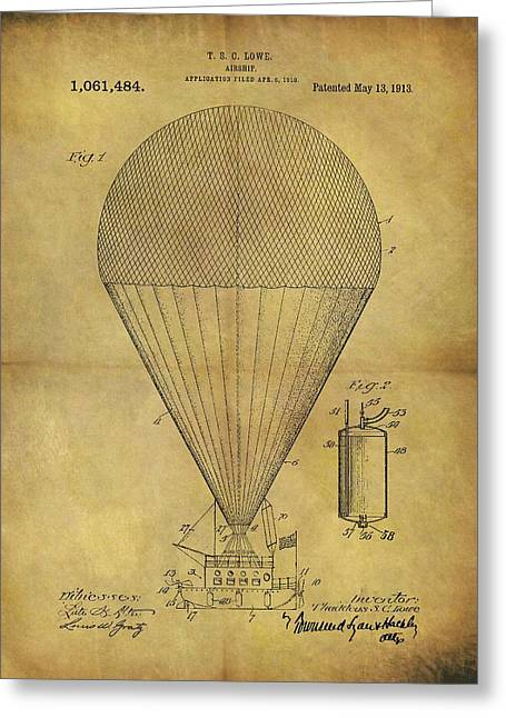 1913 Hot Air Balloon Patent Greeting Card by Dan Sproul