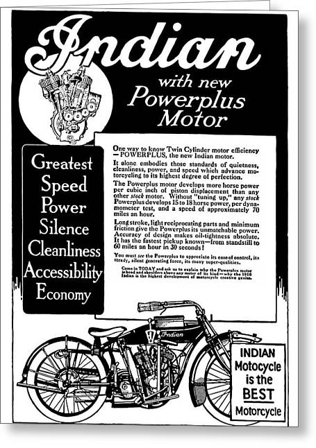 Greeting Card featuring the digital art 1913 Indian Motorcycle Is The Best by Daniel Hagerman
