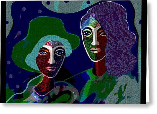1913 Dark Ladies In Green 2017 Greeting Card by Irmgard Schoendorf Welch
