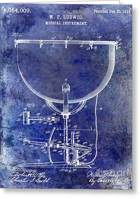 1913 Ludwig Drum Patent Blue Greeting Card by Jon Neidert