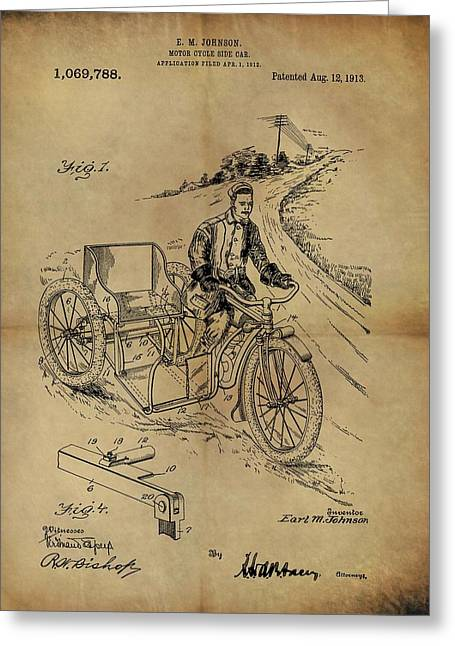 1913 Motorcycle Sidecar Patent Greeting Card by Dan Sproul