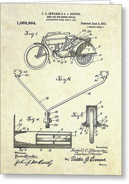 1913 Motorcycle Sidecar Patent Greeting Card by Gary Bodnar