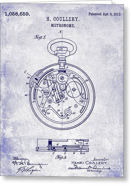 1913 Pocket Watch Patent Blueprint Greeting Card