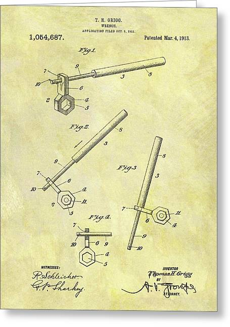 1913 Wrench Patent Greeting Card by Dan Sproul