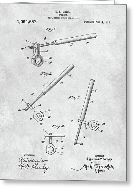 1913 Wrench Patent Illustration Greeting Card by Dan Sproul