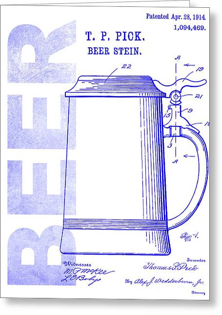 1914 Beer Stein Patent Blueprint Greeting Card by Jon Neidert