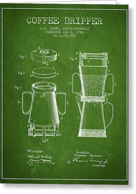 1914 Coffee Dripper Patent - Green Greeting Card