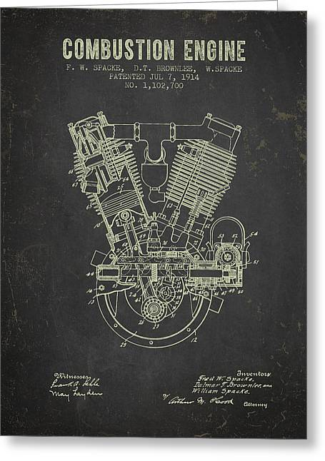 1914 Compustion Engine Patent - Dark Grunge Greeting Card by Aged Pixel